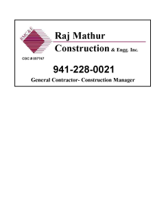 Raj Mathur Construction & Engineering, Inc.