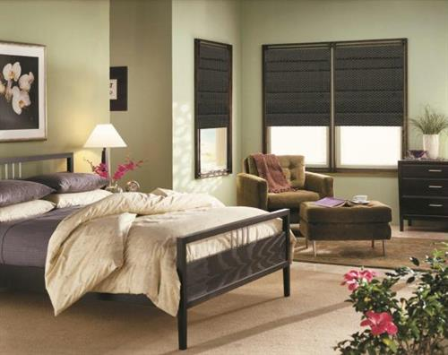 Choose from a variety of beautiful Roman shade fabrics to coordinate your bedroom!