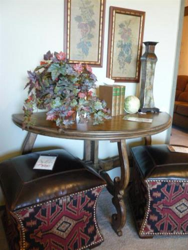Hooker Table and Lexington Ottomans