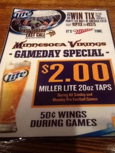 Specials during all NFL games and Happy Hour all day every Sunday!