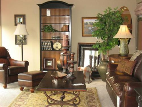 FlexSteel Latitudes Leather Sofa and Custom Shoppe Bookcase, Costa del Sol Coffee Table
