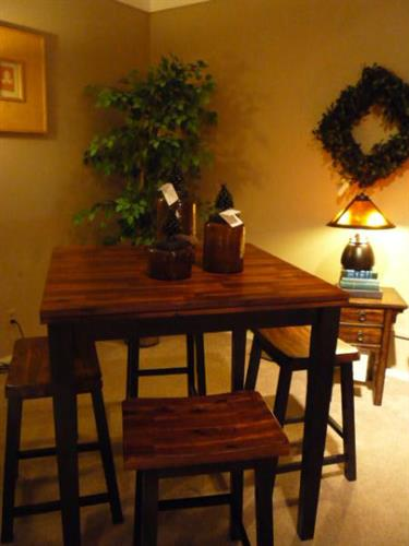 Winners Only Counter-height table and stools, Hooker side table