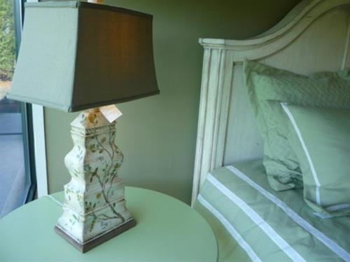 Painted Bird Lamp on Stanley Coastal Living Table by Stanley Classic Portfolio Bed
