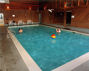 Large, well heated indoor pool and hottub