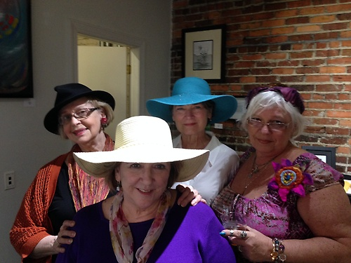 Ladies in Hats at the March Hare Mad Hatter tea party at the gallery