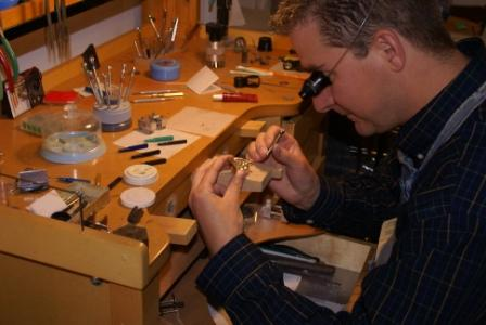 Randy at the watch repair bench, on-site watch repair on most watches
