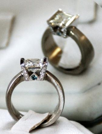 """One-of-a-Kind Engagemnet Ring with """"W"""" and blue diamonds"""