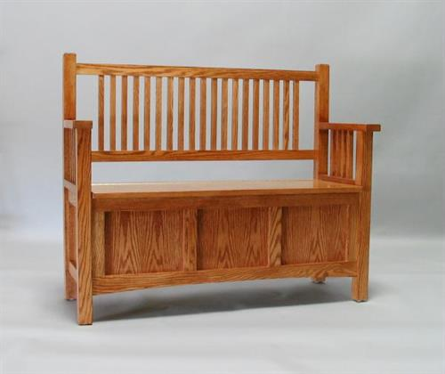 44'' W Oak Deep Storage Bench - Ispwich Pine stain