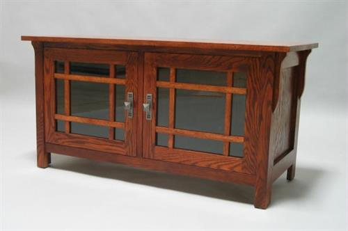 Mission Oak TV Stand glass doors 2 shelves Early American finish 30504-25