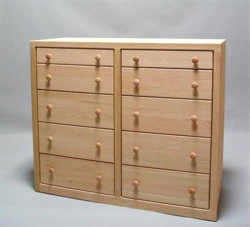 Unfinished Oak Contemporary 10 Drawer Shallow Split 32210-SS