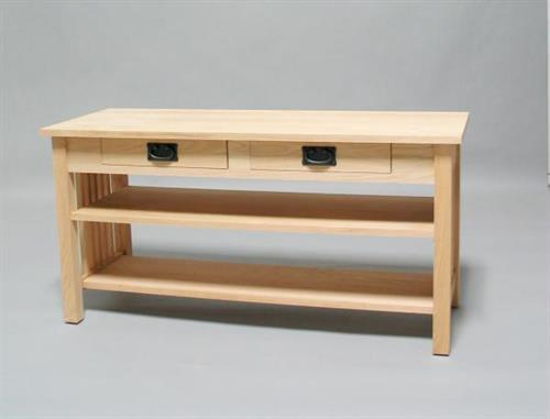 Unfinished Oak Mission TV Stand with 2 drawer and shelf 30506