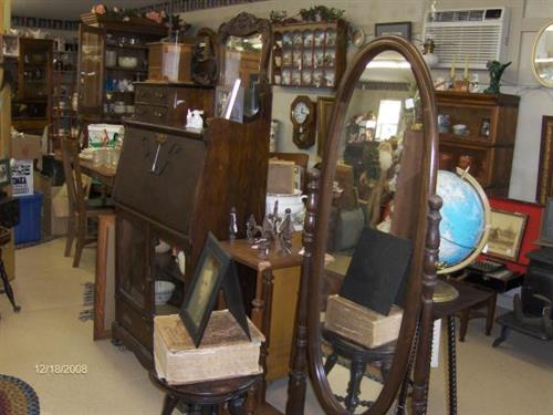 Lg. Cheval Mirror, more antiques & collectibles.