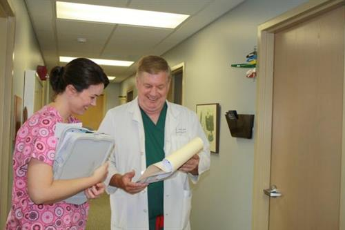Dr. Dixon and Erica, RN during Clinic