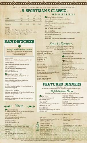Sporty's Menu - Page 1