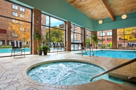 Indoor pool area looking out