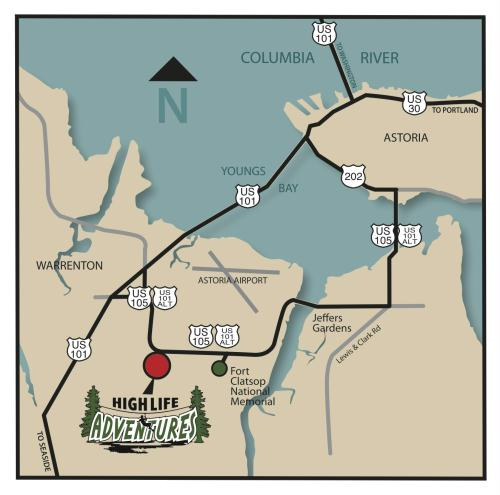 High Life Adventures Zip Line Tour Sports Recreation Tours - Fort clatsop on us map