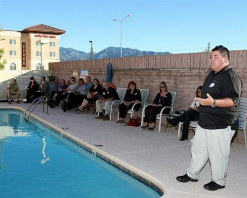 Fermin Samorano, Mine Manager for Rosemont Copper, giving his presentation at the Mixer