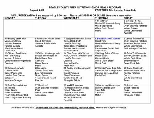 Beadle County Area Nutrition August Menu