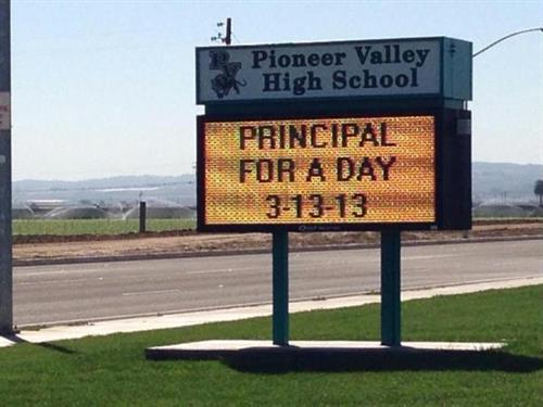 Donna Randolph was invited to be Principal for the Day at PVHS!