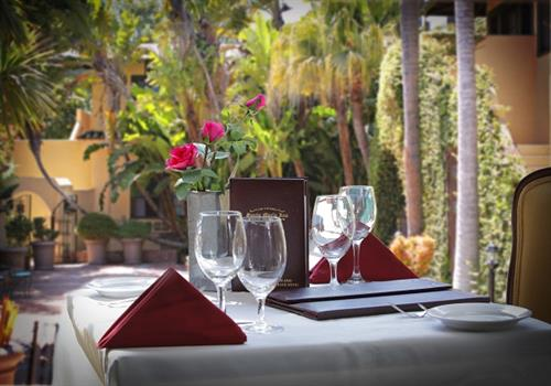 Patio Dining Available in the Garden Court
