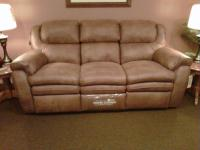 Microfiber reclining sofa with hidden compartment for storage.  Other fabrics available.