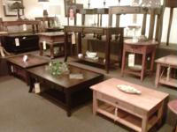 End tables, coffee tables, sofa tables, and  lamps.  More items throughout the store.