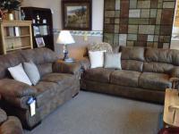 Microfiber stationary sofa and love seat.