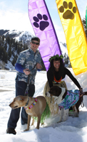 Board member Davis Hein, his wife Carina and 2 shelter pups Owen & Bella enjoy the Paw 'n Pole