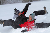 Winter sledding fun