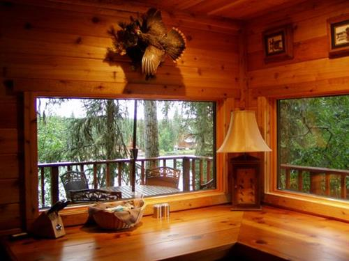 Breakfast bar overlooking the Kenai River
