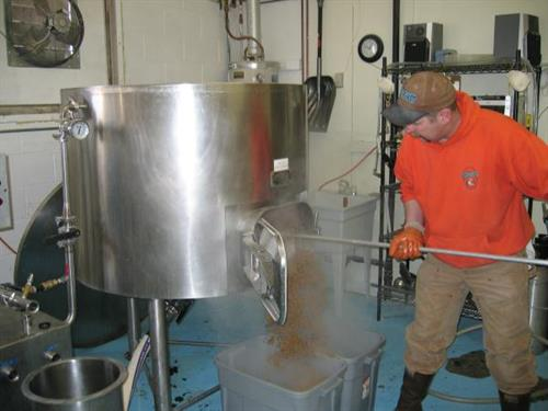 Cleaning out the mash tun