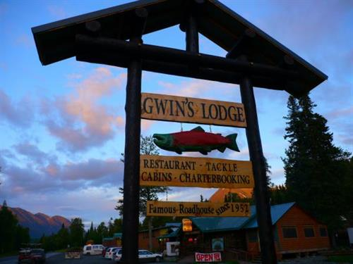 The sign at Gwin's Lodge