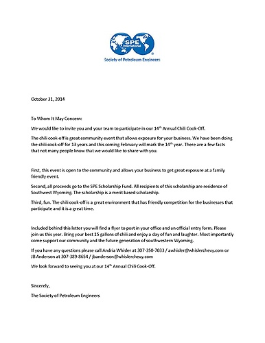 Society petroleum engineers non profit events green river 2015 chili cook off theme 2015 chili cook off invitation letter stopboris Choice Image