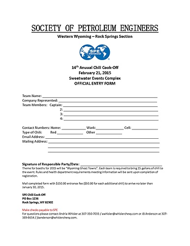 2015 Chili Cook Off Application
