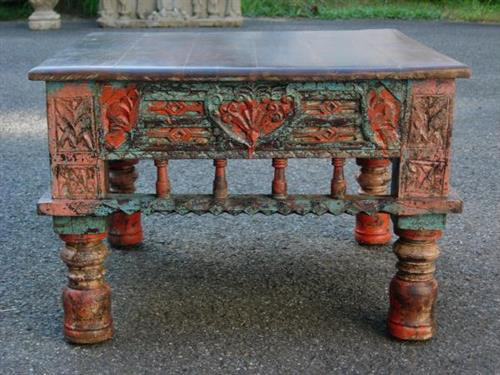 Vintage Indian coffee table with new top.