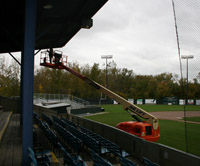 Installing new sound system at Wahconah Park
