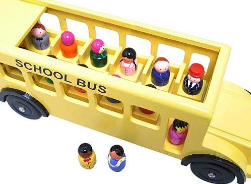 Painted School Bus & Children - Gospel House Handicrafts Ltd., Sri Lanka