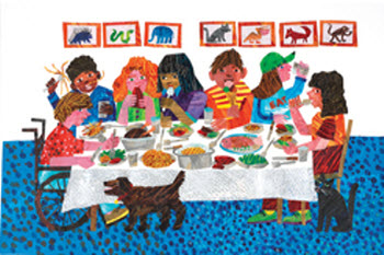 Illustration from TODAY IS MONDAY copyright 1991 by Eric Carle