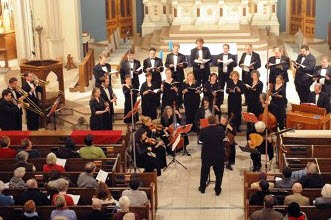 Arcadia Players performing Monteverdi at St. Mary's Church, Northampton. Photo by Walter Denny.