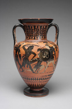 Amphora (Herakles Battling the Amazons and A Gathering of the Gods), Unknown artist, Greek
