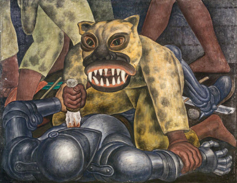 The Knight of the Tiger, after a detail from The Battle of the Aztecs and Spaniards, from the fresco cycle History of the State of Morelos, Conquest and Revolution, Palacio de Cortes, Cuernavaca, Diego Rivera
