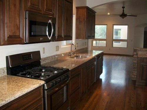 Granite counters with an open kitchen design