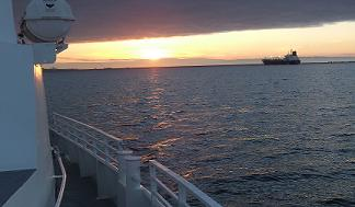 Sunset from the deck of the Expeditions