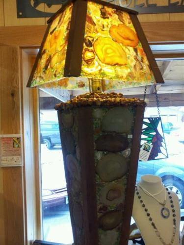 Sliced stone lamp