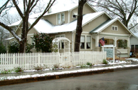 Snow covered Brenham House Bed and Breakfast