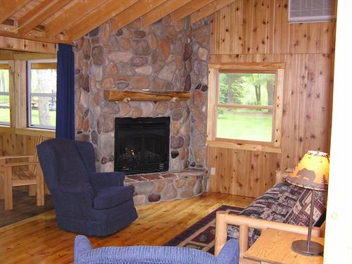 Cabin 2 cozy fireplace