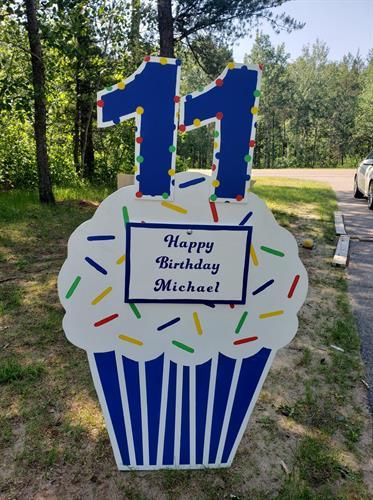 Blue Birthday Cupcake with keepsake plaque
