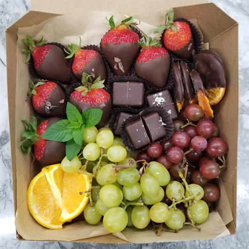 Fruit and chocolate box