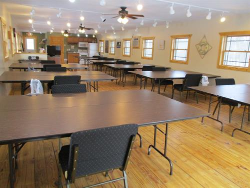 The lodge gathering room is perfect for gatherings under 75 people