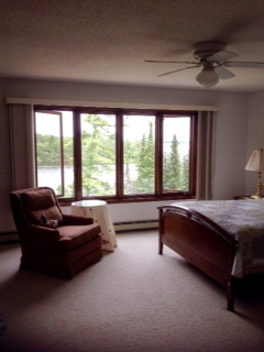 Lake House Master Bedroom view of Rainy Lake.